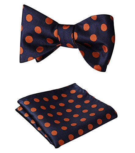 SetSense Men's Polka Dot Jacquard Woven Self Bow Tie Set One Size Navy Blue / - And Orange Navy Blue