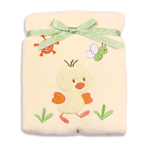 Duck Baby Bedding (Spasilk Baby-Girls Newborn Extra Thick Plush Blanket with Satin Trim, Yellow Duck,  30 Inchx40 Inch)