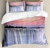 Waterfall Duvet Cover Set by Ambesonne, Grand Majestic Waterfalls View at Sunset in Africa Wild Mist Exotic Land Photo, 3 Piece Bedding Set with Pillow Shams, King Size, White Pink