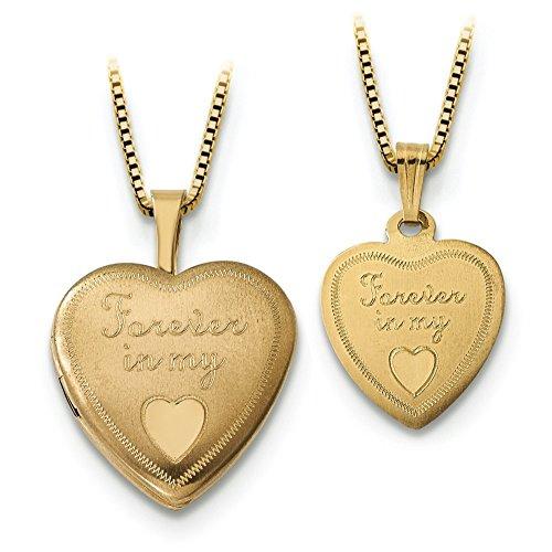 16 mm 14 carats Forever Coeur-Locket-Gld-Pendentif JewelryWeb pltd Sterling 12 mm