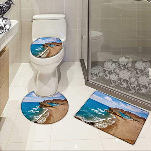 Carl Morris Landscape toilet carpet floor mat set Ocean View Tranquil Beach Cabo De Gata Spain Coastal Photo Scenic Summer Scenery Printed Rug Set Blue Brown by Carl Morris