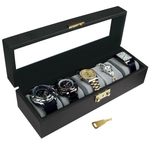 Ikee Design Deluxe Watch Collector Case Box for Large Watches with Key Lock, Clear Glass ()