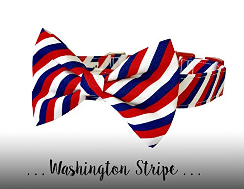 Patriotic Petals - Red White and Blue Bow Tie Dog Collar; Patriotic Bow Tie Dog Collar: Washington Stripe