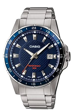Casio Mtp-1290D-2Avef Mens Analog Quartz Watch With Blue Dial, Steel Bracelet