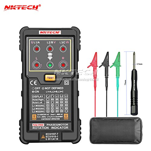 NKTECH NK5900 Three Motor Phase Rotation Indicator Meter Sequence Tester Digital Multimeter Rotary LED Magnetic Field Reverse Time Measurement System