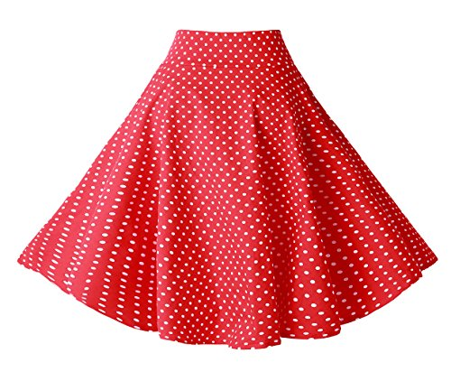 Bi.tencon Women's 1950s Vintage Red White Small Polka Dot Swing Casual A Line Party Skirts - 50s Dot Polka