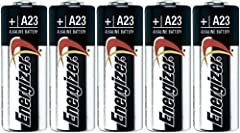 5 ENERGIZER A23 BATTERIES Works in:Garage door openers, home security systems, Remote control devices, lighters, electronic door locks, and automotive keychain remotes, radio devices, keyless vehicle entry systems, and Bluetooth headsets Equi...