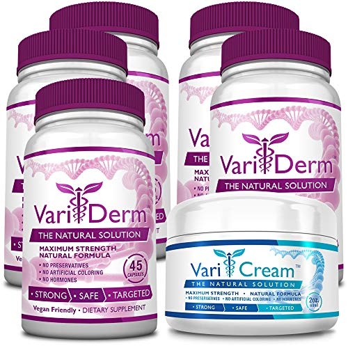VariDerm: The Varicose and Spider Vein Solution (5 Bottles + 1 Cream) Improves Appearance of Varicose & Spider Veins - Relieves Varicose Vein Pain & Strain. Supports Healthy Vein Tissue - Solution Professional Spider