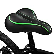 #LightningDeal BLUEWIND Bike Seat, Most Comfortable Bicycle Seat Memory Foam Waterproof Bicycle Saddle - Dual Shock Absorbing - Best Stock Bicycle Seat Replacement for Mountain Bikes, Road Bikes-Red