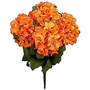 Admired By Nature 7 Stems Artificial Full Blooming Stain Hydrangea for Home, Restaurant, Wedding & Office Decoration Arrangement, Orange 12