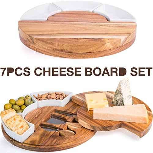 Cheese Platter - Cheese Board Set, Charcuterie Board With Cutlery Knife Set, Wood Cheese Serving Platter with 3 Knife Set Plus 3 Ceramic Bowl, Perfect Meat & Wine Server Plate with Slide Drawer