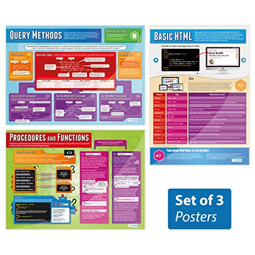Programming Posters - Set of 3 | Computer Science Posters | Gloss Paper Measuring 33
