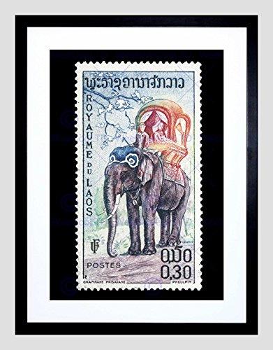 Postage Stamp Laos Elephant Vintage Philately Black Framed Art Print B12X8661 (Stamp Framed)