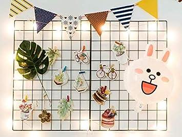 HomeStories- Black Wall Grid Panels – Home Decoration, Memo Board, Photo Hanger, Photo Grid Panel, Grid Panel, Photo Board, Size 25.6 x 17.7 inches , 2X Panels – 10 Free Black Clips – 4 Hooks