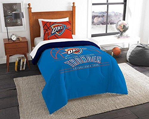- Oklahoma City Thunder - 2 Piece Twin Size Printed Comforter Set - Entire Set Includes: 1 Twin Comforter (64