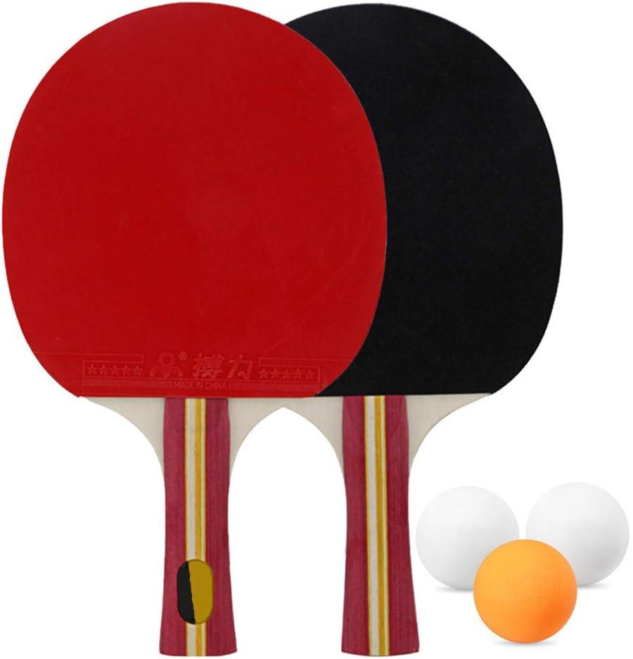 Juego De Manijas Largas De Raqueta De Tenis De Mesa De 2 Capas De Madera Pura De 5 Capas Juego De Tenis De Mesa De 3 Piezas