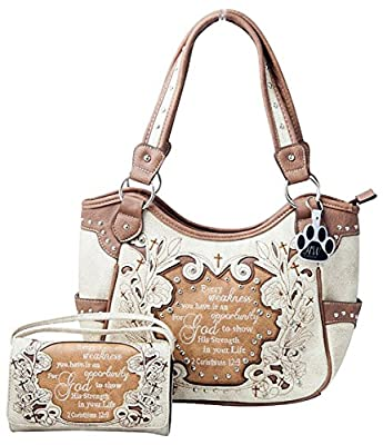 HW Collection Western Purse Concealed Carry Cross Bible Verse Handbag and Wallet Set