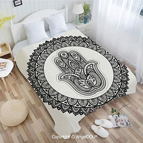AngelDOU Portable Car Air Conditioner Blanket W31 xL47 Ancient Eastern Oriental Henna Hand and Mehndi Arabesque Tattoo Work of Art Print for Home Couch Outdoor Travel.