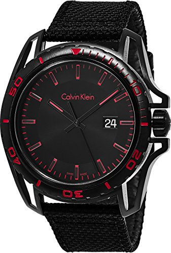 Calvin Klein 'Earth' Luxury Mens All Black Watch Leather Band - Black Stainless Steel Watch with 43mm Analog Black Face - Rotating Bezel Swiss Made Quartz Watches For Men K5Y31ZB1