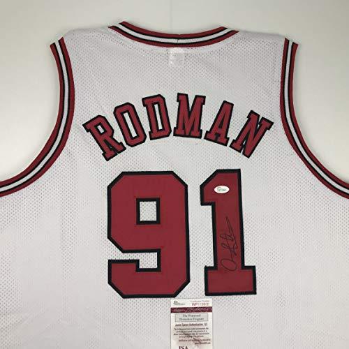 Autographed/Signed Dennis Rodman Chicago White Basketball Jersey JSA COA