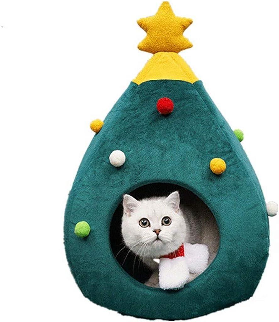 Shimigy Cute Cat House Half Closed Christmas Warm Soft Winter Pet Cat Litter