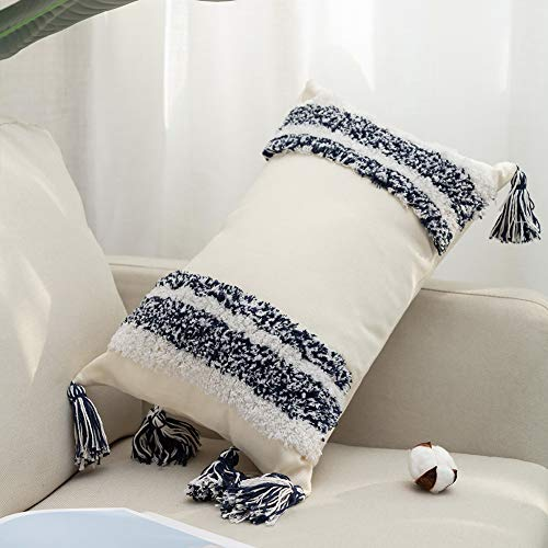 Bigcozy Decorative Throw Lumbar Pillow Cover, Boho Tribal Long Pillow Case with Tassels, Navy & Beige Cushion Cover Cotton Canvas, Hidden Zipper, 12x20 Inches (Couch Long Extra Pillows)