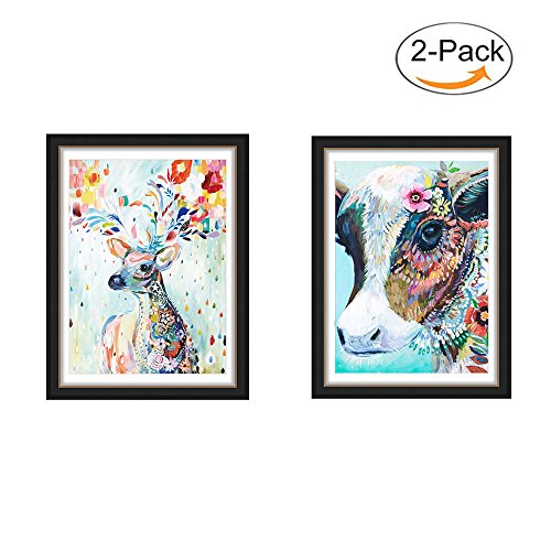 5D DIY Diamond Painting by Number Kits,Cow & Colorful Deer Crystal Embroidery Cross Stitch Animal Arts Craft for Canvas Wall Decor (Cow & Colorful Deer) by SMART DK