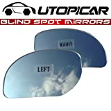 Blind Spot Mirrors. Unique design Car Mirror for blind side / Door mirrors engineered by Utopicar for larger image and traffic safety. Awesome rear view! [frameless, stick-on design] (2 pack)