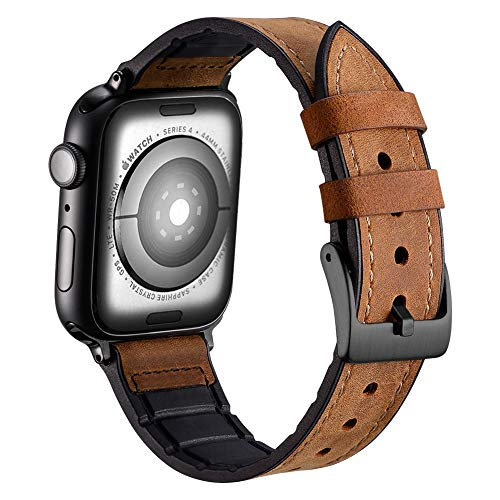 Karei Hybrid Rubber Leather Sports Band Compatible with Apple Watch Bands Sweat Proof Silicone Vintage Replacement Straps iwatch Series 4 44mm,Series 1 2 3 42mm (Frosted Brown, 44mm/42mm) ()