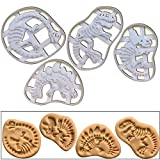 SET of 4 Dinosaur Fossil cookie cutters (Tyrannosaurus Rex, Stegosaurus, Triceratops, & Brachiosaurus), 4 pcs, Ideal gift for dinosaur birthday party