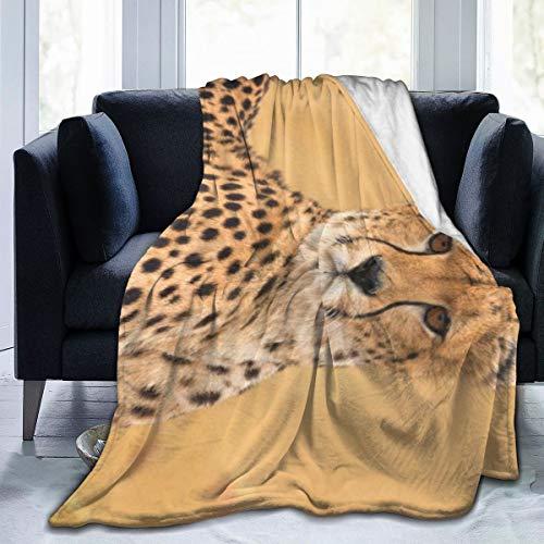 Deaowangluo Wildlife African Male Cheetah in Masai Mara Kenya Micro Fleece Throw Blanket Ultra-Soft Throws for Winter Bedding Couch Sofa 60