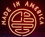 iecool MADE IN AMERICA Neon Sign 17''x14'' Real Glass Bright Neon Light for Mancave Beer Bar Pub Garage Room