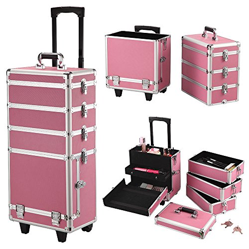 4-in-1 Aluminum Rolling Makeup Case Salo Cosmetic Organizer Trolley Train Case By Allgoodsdelight365 by allgoodsdelight365