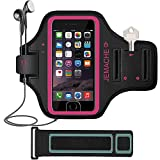 iPhone 6/6S/7/8 Plus Armband, JEMACHE Fingerprint Touch Supported Gym Running Workout/Exercise Key/Card Holder Arm Band Case for iPhone 6+ 6S+ 7+ 8+ with Extender (Rosy)
