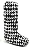 My Recovers Walking Boot Cover for Fracture Boot, Fashion Cover in Black-White Houndstooth, Size Small, Tall Boot, Made in USA, Orthopedic Products Accessories