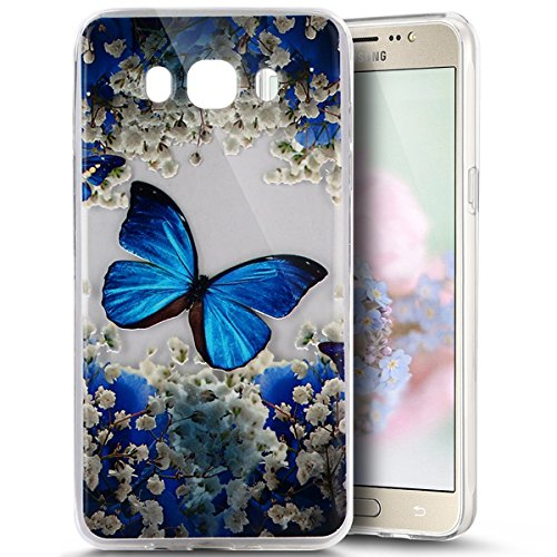 (PHEZEN for Samsung Galaxy J3 Case, Galaxy Amp Prime/Express Prime Case, Galaxy J3 2016 Case, Elegant Blue Butterfly Design Ultra Thin TPU Rubber Soft Skin Silicone Protective Case)