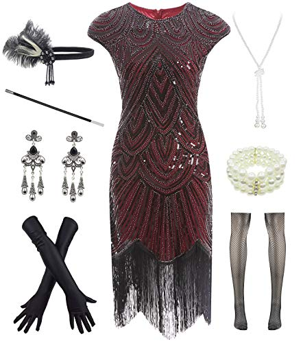 Women 1920s Vintage Flapper Fringe Beaded Gatsby Party Dress with 20s Accessories Set Hot Pink]()