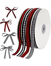 Kingovalley 4 Roll Christmas Wrapping Ribbon, 0.4 inch x 50 Yards Xmas Black Red Buffalo Plaid Ribbon Black White Checked Gingham Ribbon for Christmas DIY Craft Home Garland Bow Door Wreath Decoration