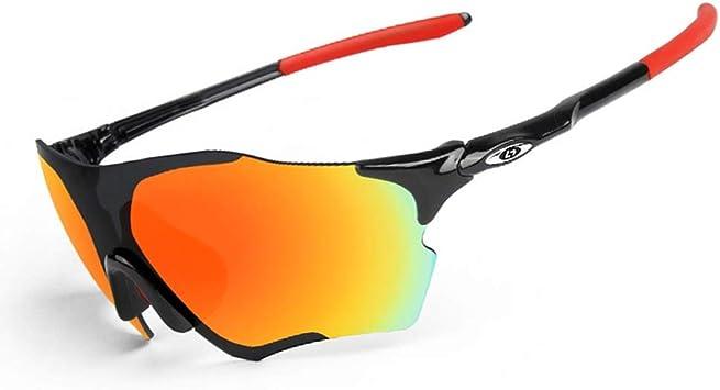 OPEL-R Gafas de Sol Hombre Sin Marco Polarizadas Oakley Jawbreaker, MTB Gafas de Ciclismo a Prueba de Viento TR90 para Deportes al Aire Libre,Blackred: Amazon.es: Deportes y aire libre