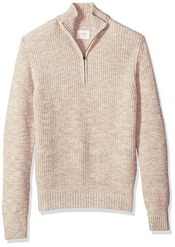 Billy Reid Men's Cashmere Half Zip Pullover Sweater, Natural, S