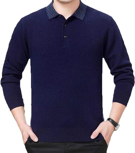 PFSYR Suéter Casual de Manga Larga para Hombre, Jersey de Punto, Jersey de Punto con Cuello de Camisa Falso (Color : Azul, Tamaño : S): Amazon.es: Jardín
