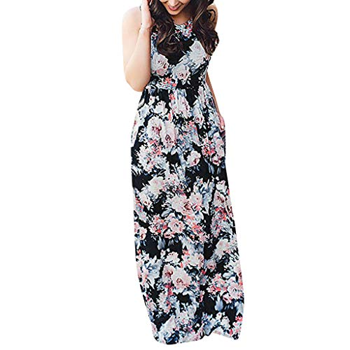 TnaIolral Women's Sleeveless Floral Racerback Loose Swing Casual Tunic Beach Long Maxi Dresses with Pockets (L, Black) ()