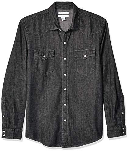 Amazon Essentials Men's Standard Slim-Fit Long-Sleeve Denim Shirt, Black, X-Small