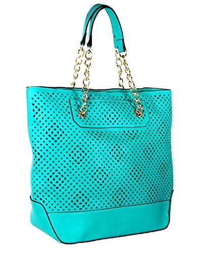 Turquoise Front Diamond Perforated Soft Faux Leather Fashion Handbag Shop Tote Purse