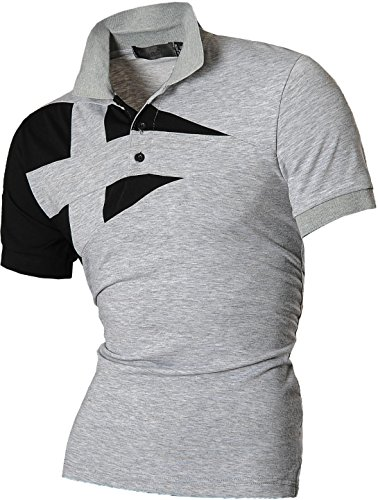 jeansian Herren Freizeit Slim Fit Short Sleeves Casual POLO T-Shirts D403, Gray, USA M (170-175cm 65kg-70kg)