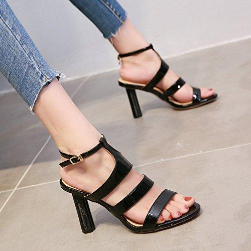 in pelle dita sexy e di Onorevoli brevetto black YMFIE moda e semplici tacchi alti confortevole sandali estate sono tacco scarpe con alta EZBqfw6PB