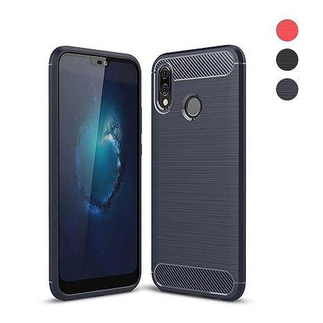 Amytech Funda Huawei P20 Lite, Huawei P20 Lite Fundas Gel de Silicona Huawei P20 Lite Carcasa Fibra de Carbono Funda (Azul)