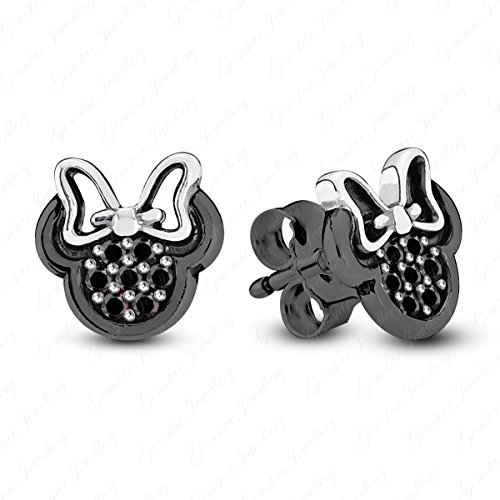 (Gemstar Jewellery Minnie Mouse Disney Earrings With Round Cut Simulated Diamond 14K Black Gold Finish)