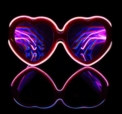 Heart Pink Luminescence Diffraction EL Wire Glasses Rave Light Up LED Glasses