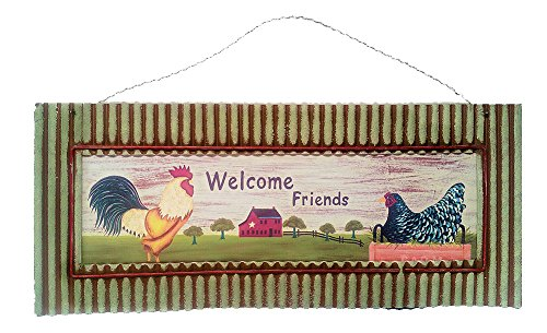 Rooster Country Kitchen Decor Metal Welcome Sign, Large